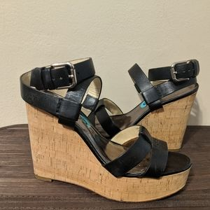 Coach black leather and cork heel strap shoe
